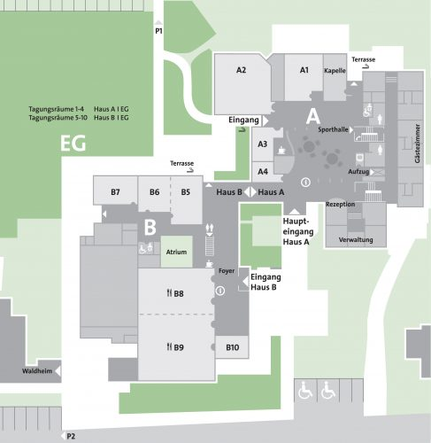 Tagungsraumplan Haus A und B Erdgeschoss